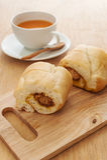 Bread cut sweet with hot milk tea Stock Photo