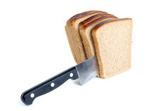 Bread cuts and knife Stock Image