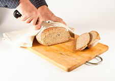 Bread cutting Royalty Free Stock Photos