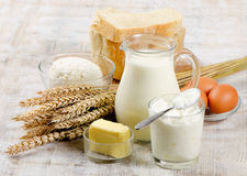Bread and dairy products Stock Images