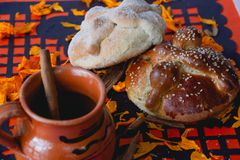 Bread of the dead - `pan de muerto` royalty free stock photos