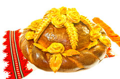 Bread decorated with flowers Royalty Free Stock Images