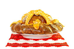 Bread decorated with flowers Royalty Free Stock Photography