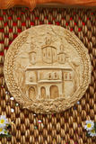 Bread, decorated with the image of the temple, is situated on th Royalty Free Stock Image