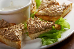 Bread with delicious liver pate Royalty Free Stock Images