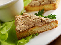 Bread with delicious liver pate Stock Photos