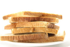 Bread. Delicious bread in pieces on white background Royalty Free Stock Image