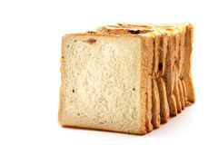 Bread. Delicious bread in pieces on white background Royalty Free Stock Images
