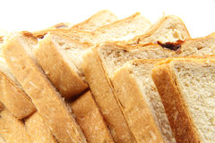Bread. Delicious bread in pieces on white background Stock Image