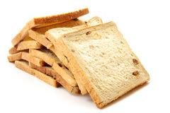 Bread. Delicious bread in pieces on white background Stock Photos