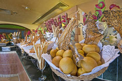 Bread display at a hotel buffet Royalty Free Stock Photography