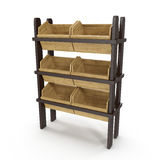 Bread display racks for stores on white. 3D illustration, clipping path Royalty Free Stock Photo