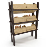 Bread display racks for stores on white. 3D illustration, clipping path Royalty Free Stock Photography