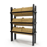 Bread display racks for stores on white. 3D illustration, clipping path Stock Photo