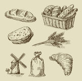 Bread doodle. Vector hand drawn food sketch and bread doodle vector illustration