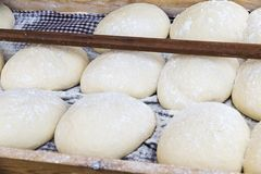 Bread dough balls fermenting and waiting to put in the oven stock photography
