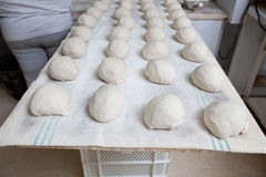 Bread dough before fermentation. Raw pieces of bread dough before fermentation. Manufacturing process of spanish bread royalty free stock images