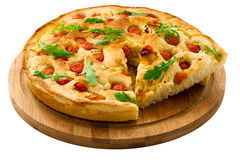 Bread dough Focaccia with salad Royalty Free Stock Images