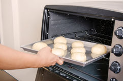 Bread dough prepare for bake in oven Stock Images