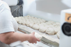 Bread dought pieces before fermentation. Raw pieces of bread dough before fermentation. Manufacturing process of spanish bread royalty free stock photo