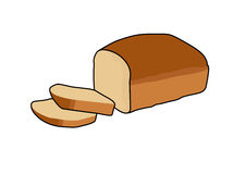Bread. Drawing of an isolated sliced bread vector illustration