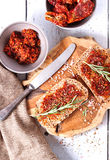 Bread with dried tomatoes and herbs Royalty Free Stock Photos