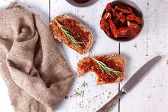 Bread with dried tomatoes and herbs Royalty Free Stock Photo