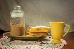 Bread with drink,coffee,tea or cocoa. Royalty Free Stock Photography