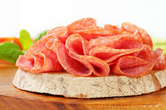 Bread with dry salami Royalty Free Stock Photos