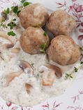 Bread dumplings in mushroom sauce Stock Photo