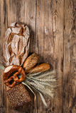 Bread and ears of wheat, above view Royalty Free Stock Images