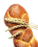Bread and ears of wheat, isolated Royalty Free Stock Photo