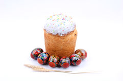 Bread with Easter eggs. The Bread with Easter eggs Royalty Free Stock Photography