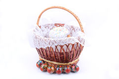 Bread with Easter eggs. Easter bread and eggs in a basket Royalty Free Stock Photo