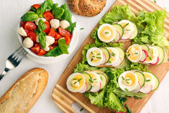 Bread with egg and caprese salad Royalty Free Stock Images