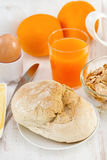 Bread with egg, cereals. And orange juice Stock Photo