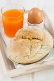 Bread with egg and juice Stock Image