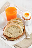 Bread with egg, juice Royalty Free Stock Photography