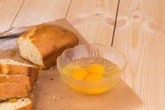 Bread and egg. Stock Photos