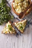 Bread and egg salad with herbs and mayonnaise top view Stock Images