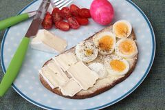 Bread with eggs and cheese. Some bread with cooked eggs and cheese Royalty Free Stock Photography