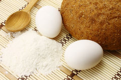 Bread with eggs and flour Royalty Free Stock Image