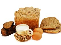 Bread,eggs and milk Royalty Free Stock Photo
