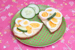 Bread with eggs. Some bread with boiled eggs Royalty Free Stock Images