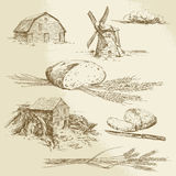 Bread, farm, windmill and watermill. Bread, farm - hand drawn illustration Stock Photography