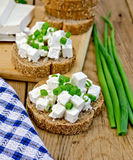 Bread with feta and green onions Stock Photos