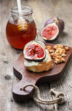 Bread with figs, ricotta Royalty Free Stock Image