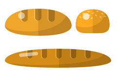Bread flat icons set Royalty Free Stock Images