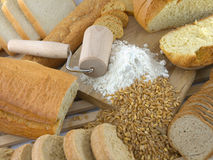 Bread and flour Stock Photography