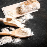 Bread and  flour Stock Photo